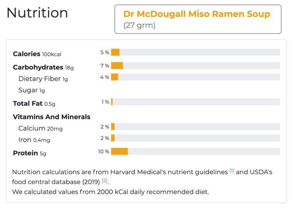 Dr. mcdougall's miso ramen soup nutritional value