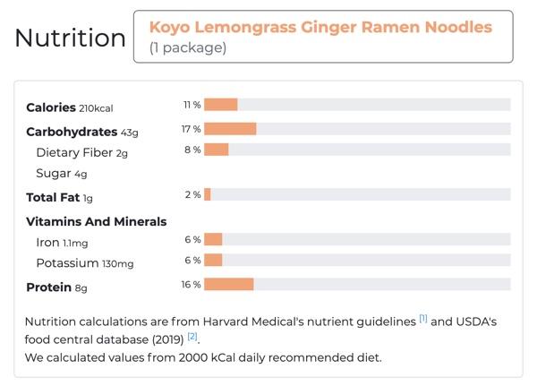 koyo lemongrass ginger vegan ramen nutrition