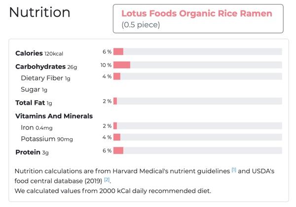 lotus foods organic rice ramen nutrition
