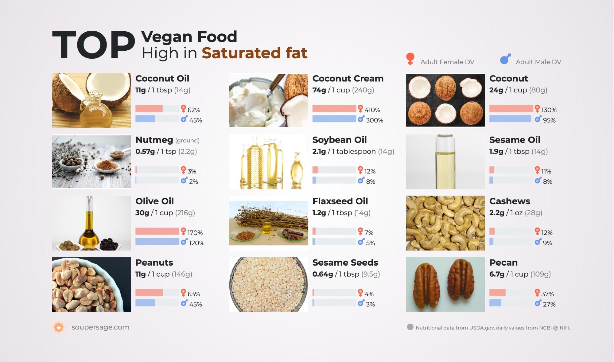 image of Top Vegan Food High in Saturated fat