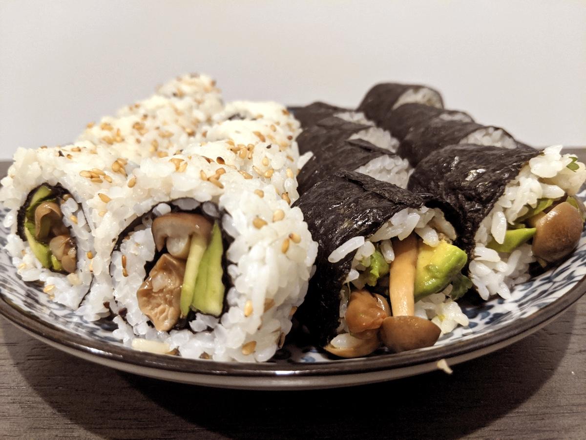 image of vegan beech mushroom avocado sushi